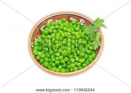 Green Peas In Ceramic Bowl