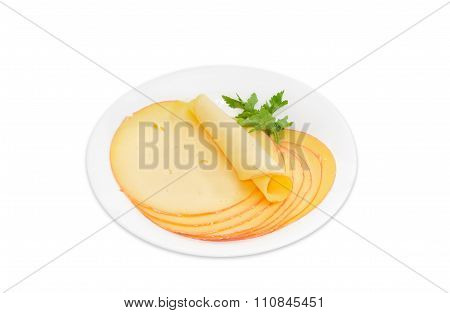 Cheese Cut Into Round Slices On White Dish