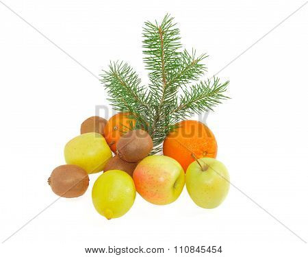 Different Fruits And Fir Branch