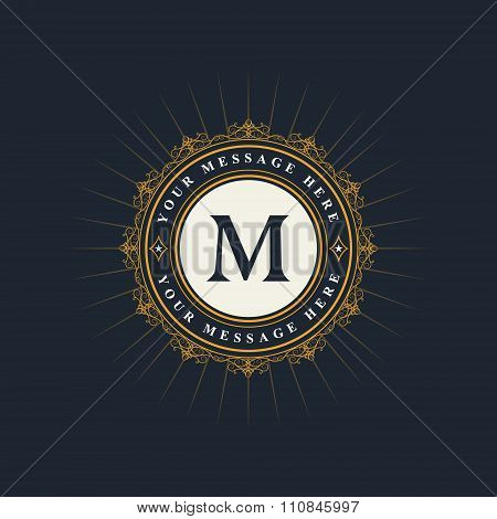Monogram Design Elements, Graceful Template. Elegant Line Art Logo Design. Emblem Letter M. Retro Vi