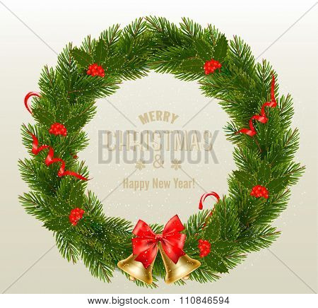 Holiday background with Christmas Wreath and Bow. Vector illustration.