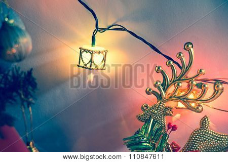 heart light, christmas light and Ornament decorate Merry Christmas and happy new year