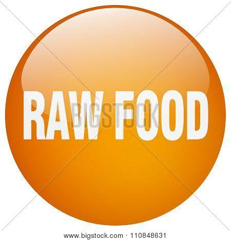 Raw Food Orange Round Gel Isolated Push Button