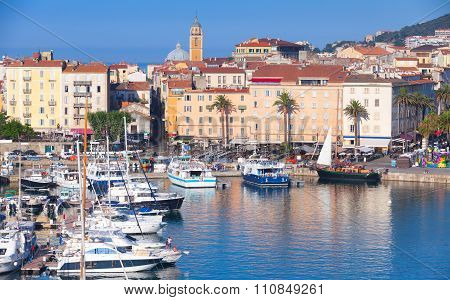 Ajaccio Port Cityscape With Moored Yachts