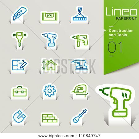 Lineo Papercut - Construction and Tools outline icons