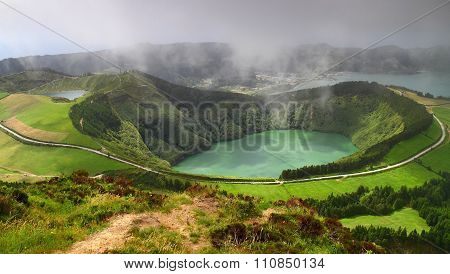 Volcanic Lake Sete Cidades In Sao Miguel Island