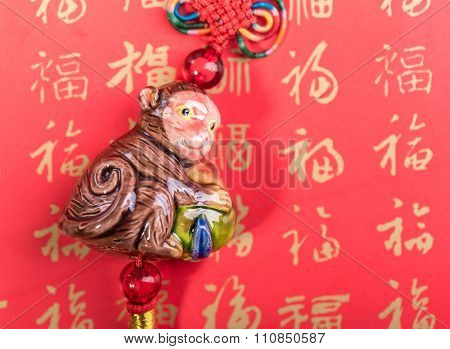 Ceramic monkey souvenir on old paper,2016 is year of the monkey,Chinese Calligraphy for