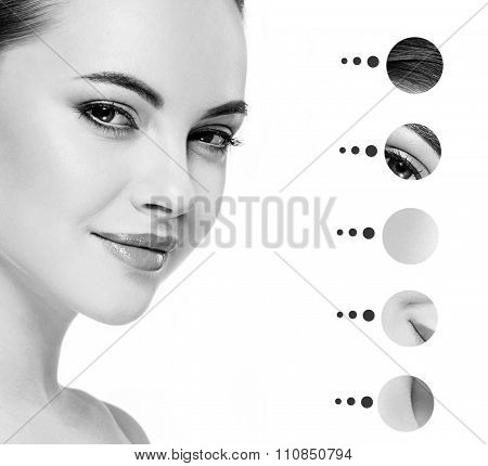 Portrait Woman With Problem And Clear Skin, Youth  Make Up Concept Black And White