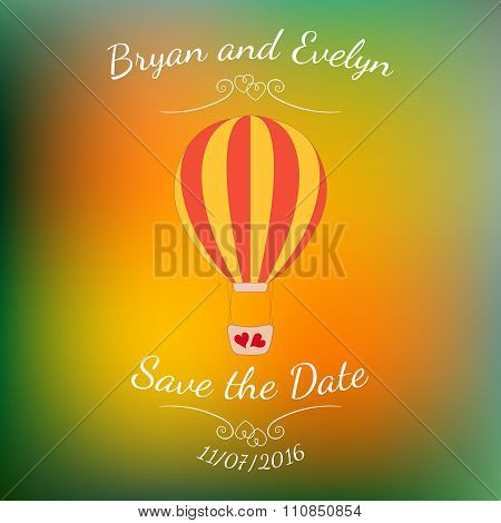 Vector wedding pink balloon with red hearts over colorful blurred background.