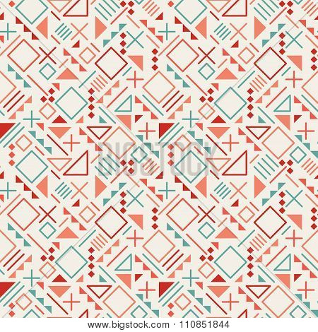 Vector Seamless Retro 80's  Jumble Geometric Line Shapes Blue Red Color Hipster Pattern On Grey