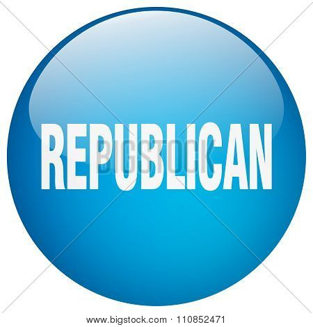 Republican Blue Round Gel Isolated Push Button