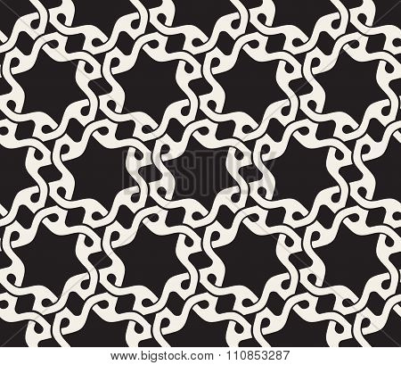 Vector Seamless Black And White Rounded Wavy Interlacing Line Geometric Stars Pattern
