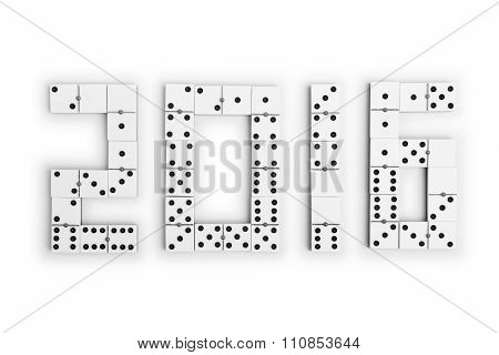 Year 2016 In Domino Pieces Over A White Background