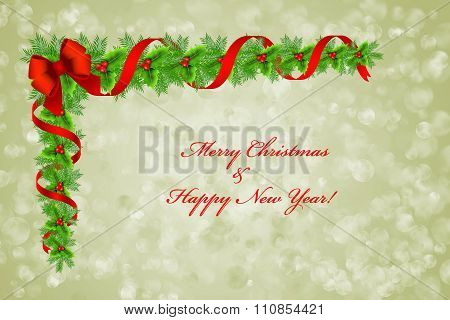 Christmas Holly Border Decoration Over Bokeh Background, Greeting Card