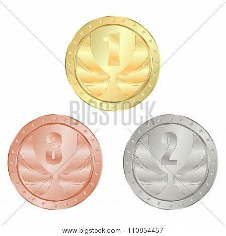 gold, silver, bronze medal vector with 1, 2, and 3 place