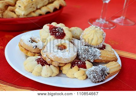 Sweet Linzer Cookies Jam Filled Sprinkled With Powdered Sugar