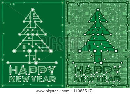 banners of green spruce with computer and motherboard elements