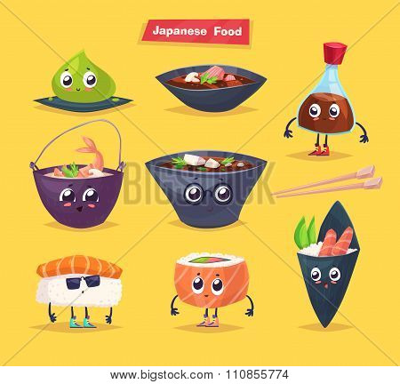 Japanese food. Soy sauce and sushi roll. Vector cartoon.