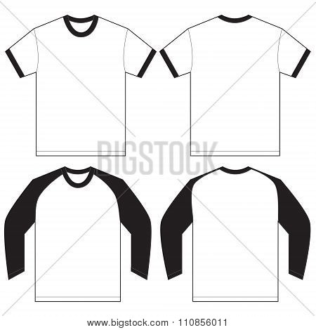 Black White Ringer T-shirt Design Template