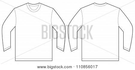 White Long Sleeve T-shirt Design Template