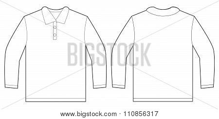 White Long Sleeve Polo Shirt Design Template