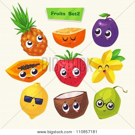 set of fruit characters. Vector cute cartoons