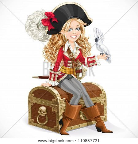 Cute Pirate Girl With Parrot Sit On Big Chest Isolated On A Whit
