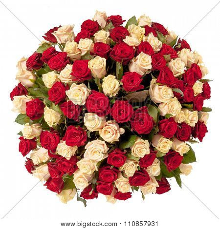 Beautiful red roses bouquet  isolated on white.