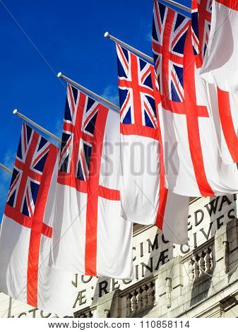 White Ensigns at Admiralty Arch