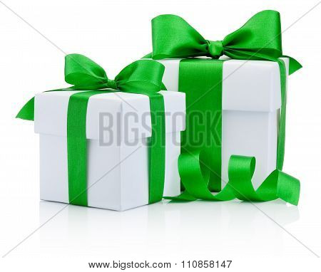 Two Gift White Boxs Tied Green Ribbon Bow Isolated On White Background