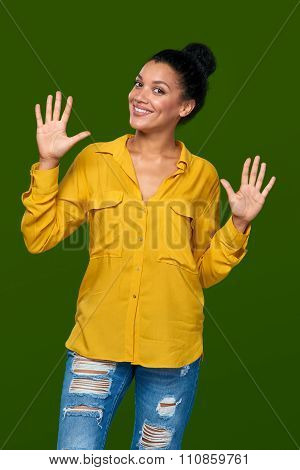 Woman showing ten fingers