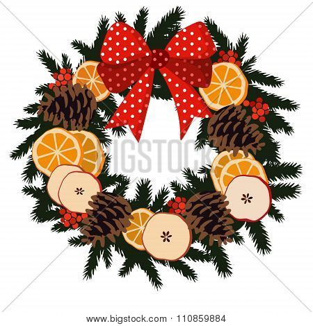 Traditional Christmas Wreath With Dried Fruit, Isolated Vector