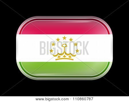 Flag Of Tajikistan. Rectangular Shape With Rounded Corners