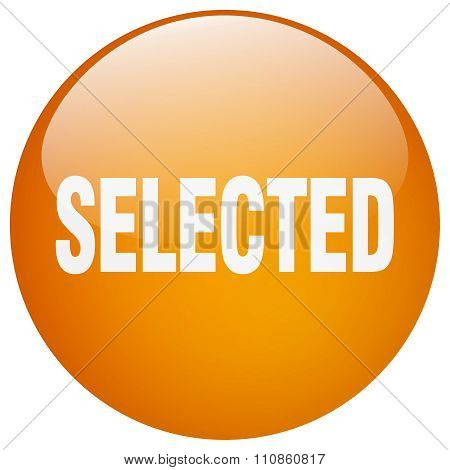 Selected Orange Round Gel Isolated Push Button