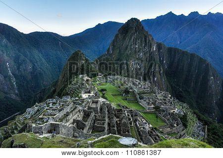 Before Sunrise At Machu Picchu, The Sacred City Of Incas, Peru