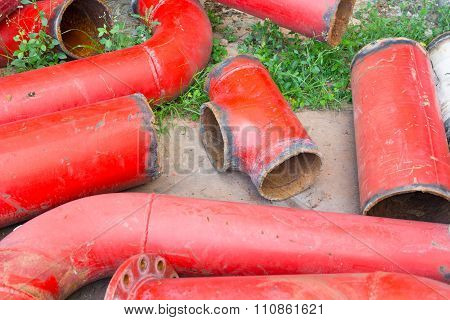 Red Pipeline Scrap Of Fire Protection.