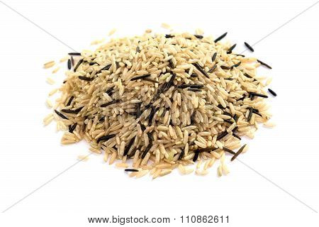 Heap Of Unpolished Rice Isolated