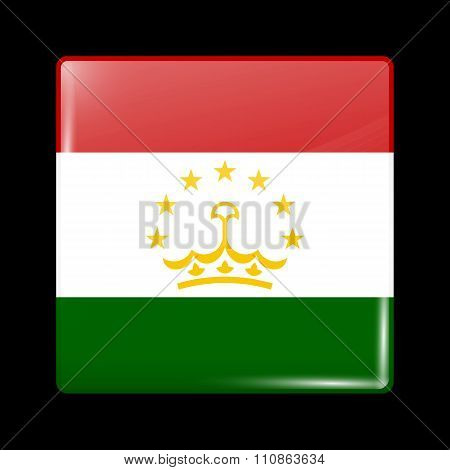Tajikistan Variant Flag. Glassy Icon Square Shape