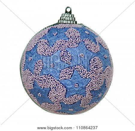 Big blue bauble for christmas firtree on white background