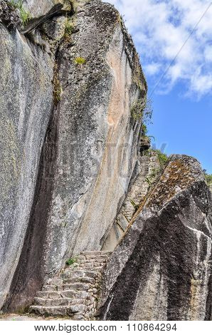 Steps Down To Temple Of Moon At Machu Picchu, The Sacred City Of Incas, Peru
