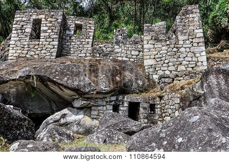 Temple Of Moon At Machu Picchu, The Sacred City Of Incas, Peru