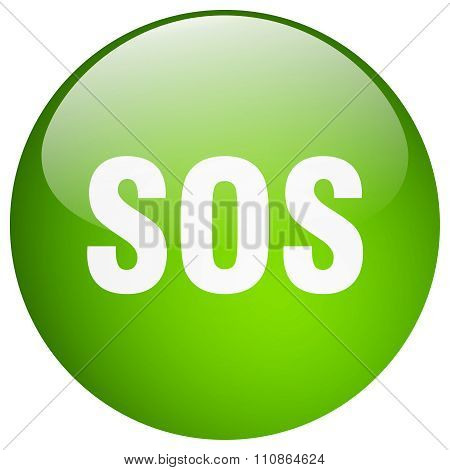 Sos Green Round Gel Isolated Push Button