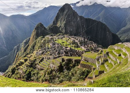 Evening View At Machu Picchu, The Sacred City Of Incas, Peru