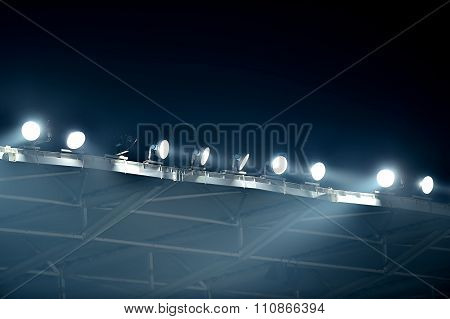 Stadium Floodlights In Fog