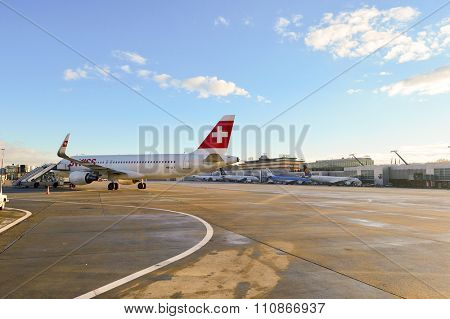 GENEVA, SWITZERLAND - NOVEMBER 18, 2015: Swiss Airbus A320 at Geneva airport. Swiss International Air Lines AG is the flag carrier airline of Switzerland