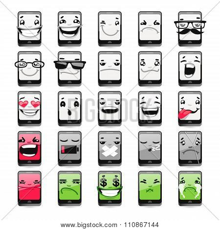 Cartoon Phones Emoticons