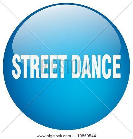 Street Dance Blue Round Gel Isolated Push Button