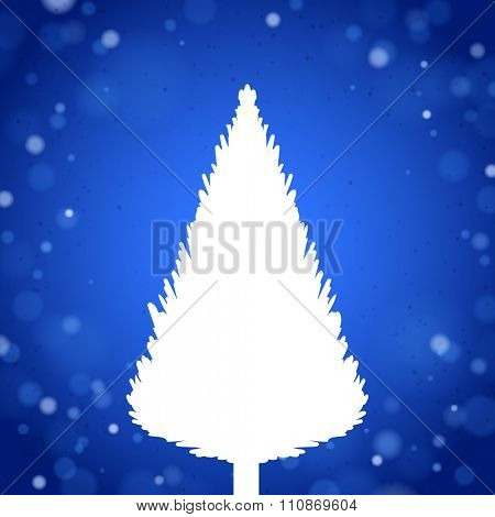 White Christmas Tree Silhouette on the Blue Background