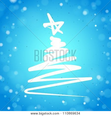 Christmas Tree Simple Sign on a Blue Background