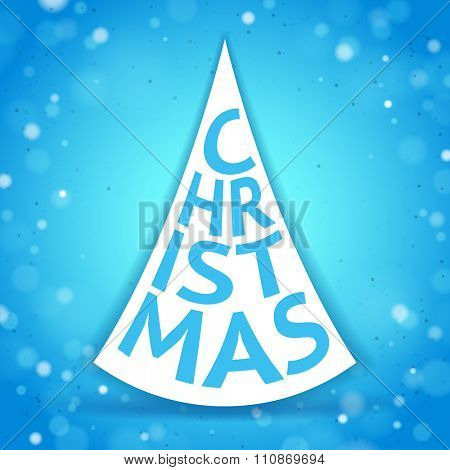 Abstract Christmas Tree Created by Letters on the Blue Sparkling Background